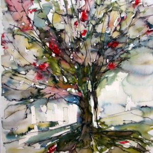 Baum rot gruen