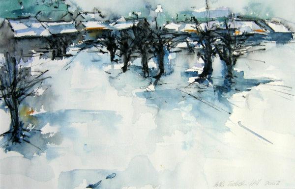 schnee blau weiss